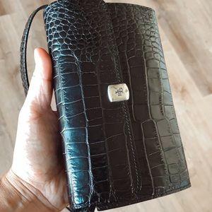Lauren Ralph Lauren black crocodile shoulder purse